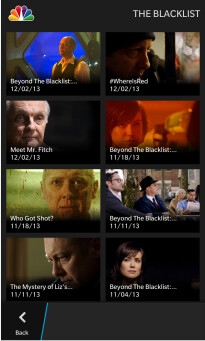 Screenshots from the NBC app for BlackBerry 10