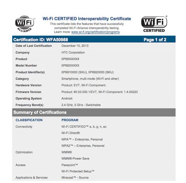 HTC M8 aka One 2 gets its WiFi certification, will sport fast dual-band wireless