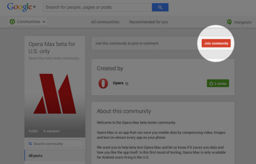 Go to Opera's Google+ page to join the beta