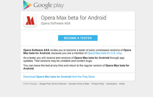 Opt in and download Opera Max