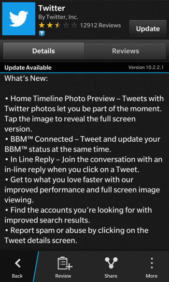 Twitter for BlackBerry 10 acquires BBM integration thanks to a recent update