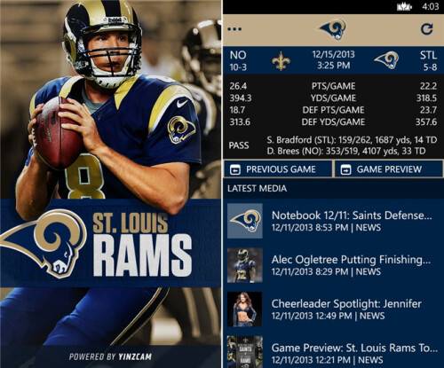 Official NFL apps for Windows Phone