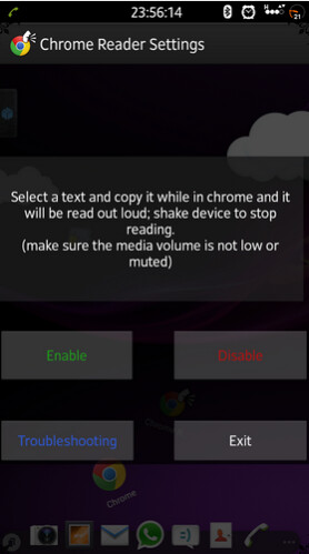 How to make mobile Chrome browser on Android read web text
