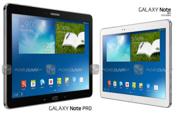 Size comparison render of the Note 10.1 2014 edition, and the eventual 12-inch Note Pro