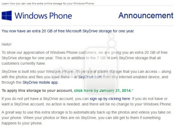 Microsoft offering extra 20GB of SkyDrive storage to Windows Phone users