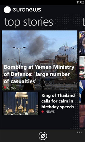 Screenshots from Euronews for Windows Phone