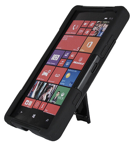 The case includes a stand for viewing media on the phone