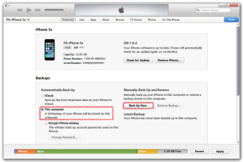how to change where itunes saves bck ups