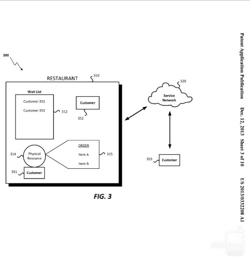 Apple's patent illustrations for a restaurant service network