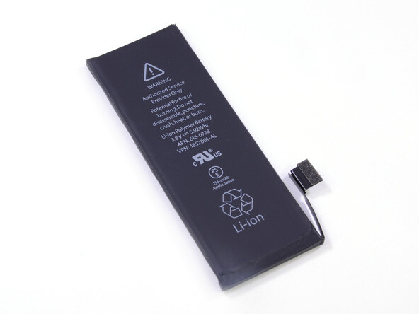 Apple iPhone 5s battery, image courtesy of iFixit. - Apple iPhone 5s battery life test completed: beats Galaxy S4 and Nexus 5, but far from perfect