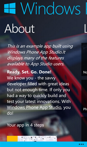 Windows Phone App Studio lets you build your own app step by step