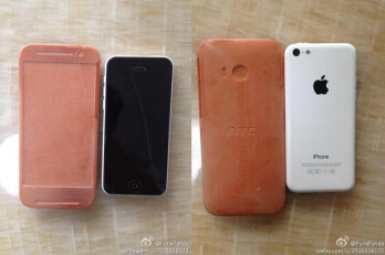 Pair of pictures show mock-up of HTC One 2 compared to an Apple iPhone