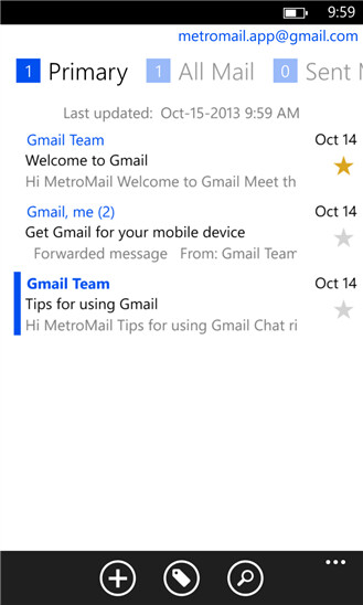 MetroMail for Windows Phone 8 screenshots