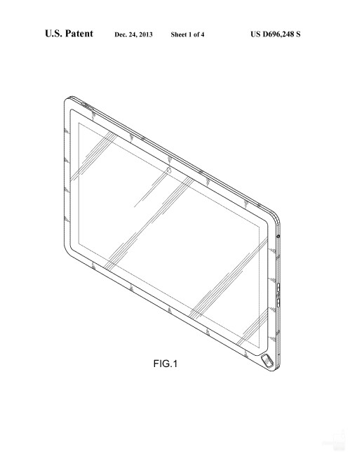 Possibly upcoming Samsung tablet #4 with a corner home button