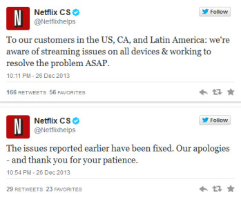 Netflix goes down...and then up again!