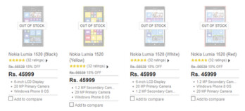 The Nokia Lumia 1520 is sold out at Flipkart