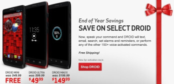 Verizon's End of Year Savings promo includes the Moto X, three Droids, HTC One and Samsung tablets