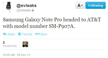 Samsung Galaxy Note Pro (SM-P907A) headed to AT&T?