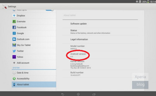 Android 4.3 has arrived for the Wi-Fi version of the Sony Xperia Tablet Z
