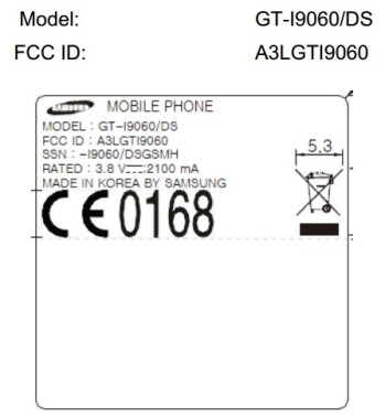 Samsung Galaxy Grand Lite GT-I9060 swings by the FCC