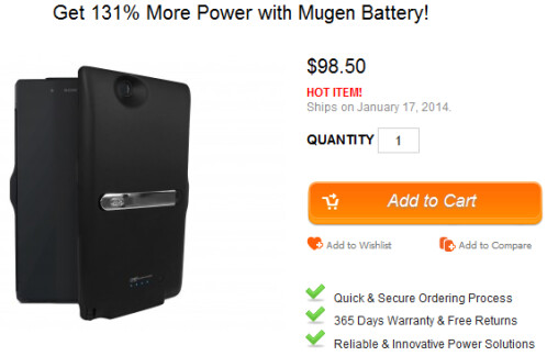 Mugen's case for the Sony Xperia Z Ultra is embedded with a 4000mAh cell