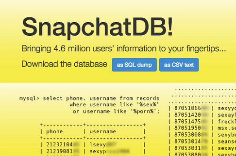 SnapchatDB! has 4.6 million Snapchat usernames matched up with phone numbers - 4.6 million Snapchat members have their username and partial phone number revealed online