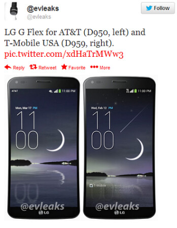 Tweet shows off renders of LG G Flex for AT&T and T-Mobile