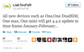 Tweet reveals January through February time frame for Android 4.4.2 update on the international HTC One, HTC One Dual SIM, HTC One mini and HTC One max
