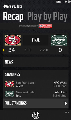 Screenshots from NFL Mobile and the unofficial Google Maps app for Windows Phone
