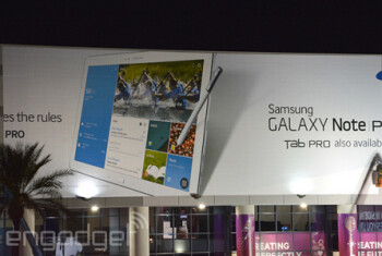 This banner at CES outs the Samsung Galaxy Note Pro and the Samsung Galaxy Tab Pro