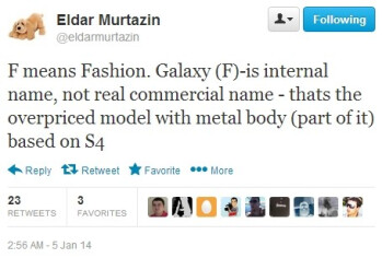 """Rumors: the F in Samsung Galaxy F stands for """"fashion"""", Galaxy S5 might go on sale in May"""