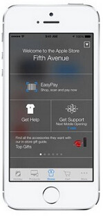 Screen shows iBeacon in use at Fifth Avenue Apple Store in New York