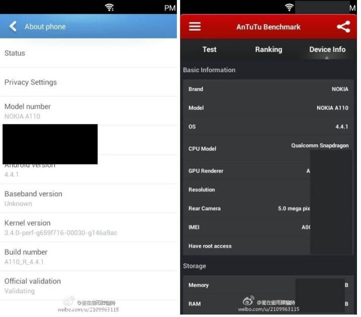 A supposed Nokia phone running Android is benchmarked - Nokia A110 smartphone running Android 4.4.1 appears on AnTuTu