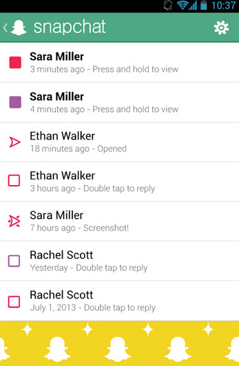 Screenshots from Snapchat