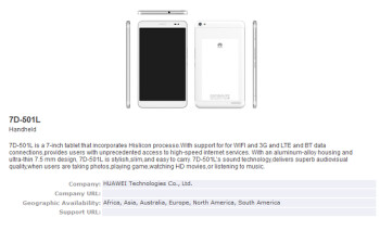 THe Huawei 7D-501L has received its Bluetooth certification