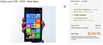 The 32GB variant of the Nokia Lumia 1520 is now available for purchase online at AT&T