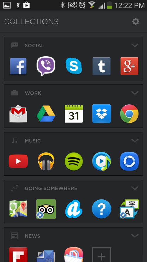 'Collections' in dark theme