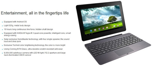 Asus Transformer Pad TF502T official images and features