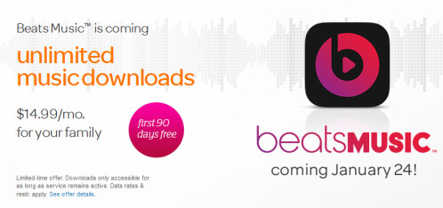 AT&T to offer Beats Music to its customers starting January 24th