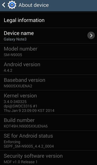 Screenshots from Android 4.4.2 test ROM for Samsung Galaxy Note 3 - Android 4.4.2 ROM available for the SM-N9005 version of the Samsung Galaxy Note 3