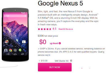 T-Mobile has cut $54 off the price of a 16GB Nexus 5