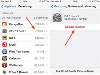 Open up 1GB of additional storage deleting unwanted OTA updates with iOS 7.1 beta 3