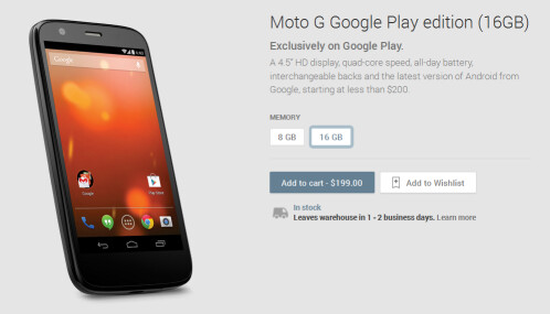 Motorola Moto G Google Play edition now available