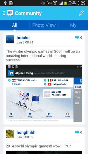 Samsung develops its own app for the 2014 Winter Olympics