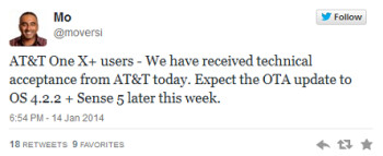 Tweet from HTC executive reveals this week's Android 4.2.2 update for AT&T's HTC One X+