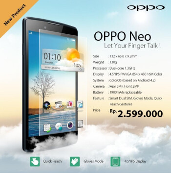 "Affordable 4.5-inch Oppo Neo with ""gloves mode"" now official"