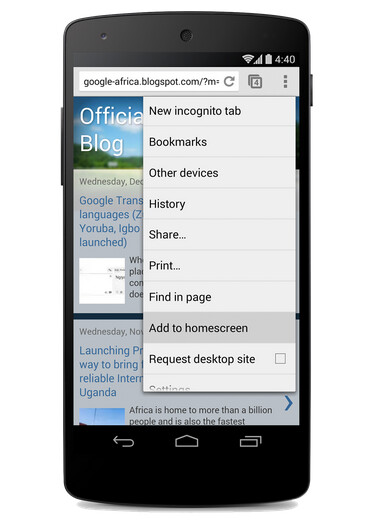 Add shortcuts to your homepage using Chrome for Android