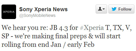 Sony pegs the Android 4.3 Jelly Bean update for Xperia SP, T, TX and V as coming by early February