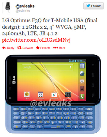 Tweet reveals final build, specs and image of the LG Optimus F3Q