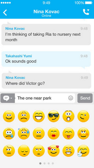 Screenshots from Skype for iOS